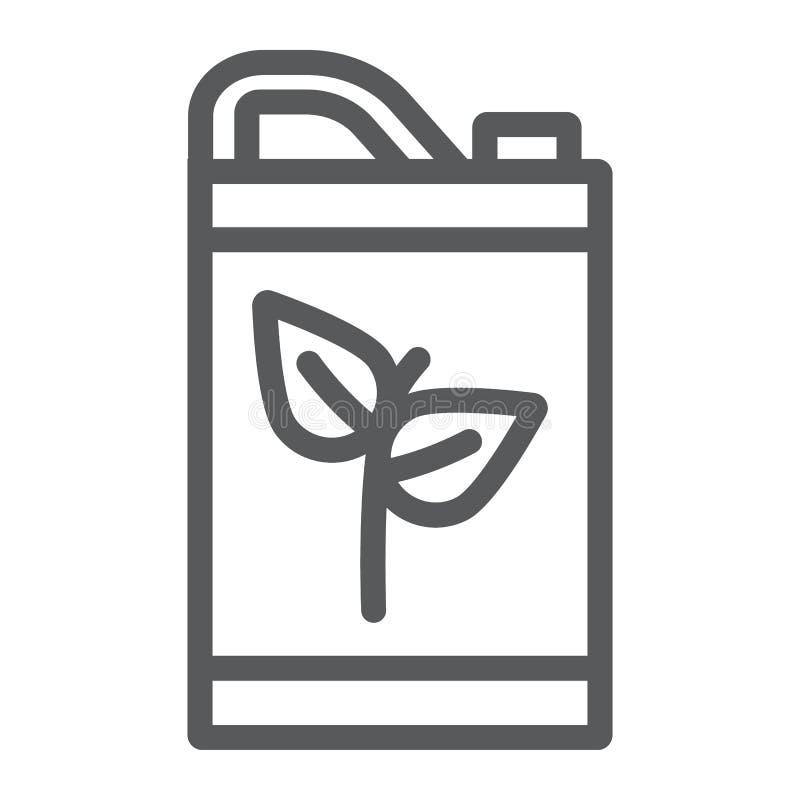 Eco paliwowej linii ikona, życiorys i lufowy, kanisteru znak, wektorowe grafika, liniowy wzór na białym tle ilustracja wektor