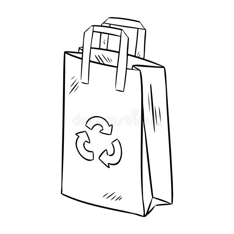 Eco papierowej torby ?yczliwy doodle Ekologiczny i odpady produkt E ilustracja wektor