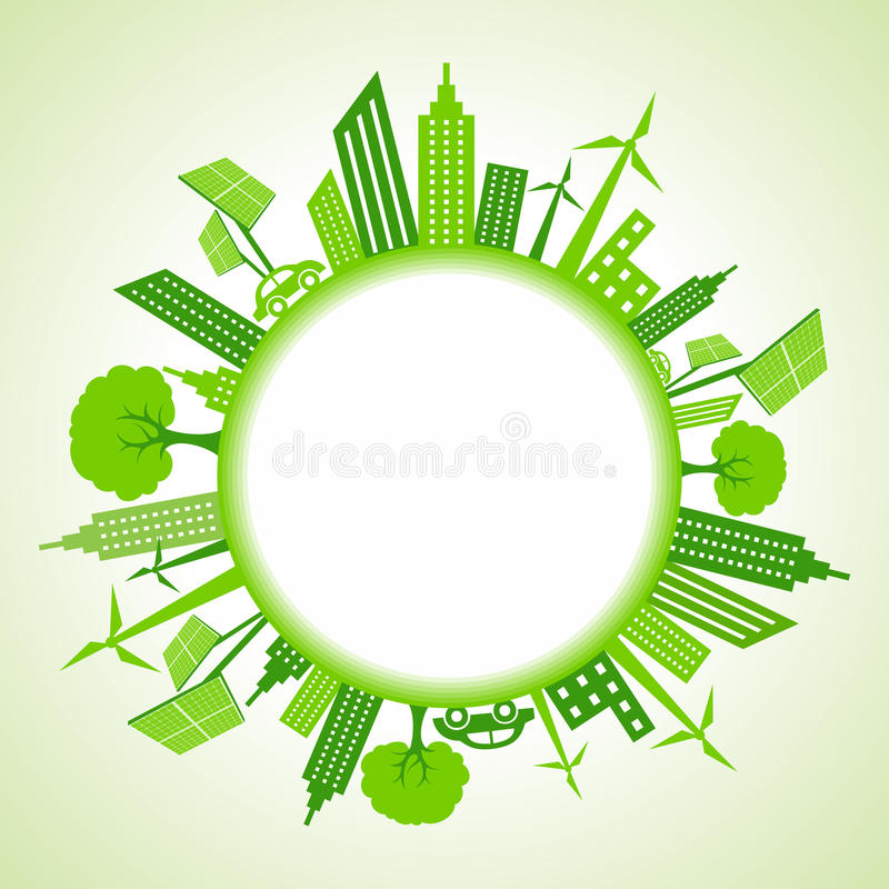 Eco pejzaż miejski wokoło okręgu royalty ilustracja