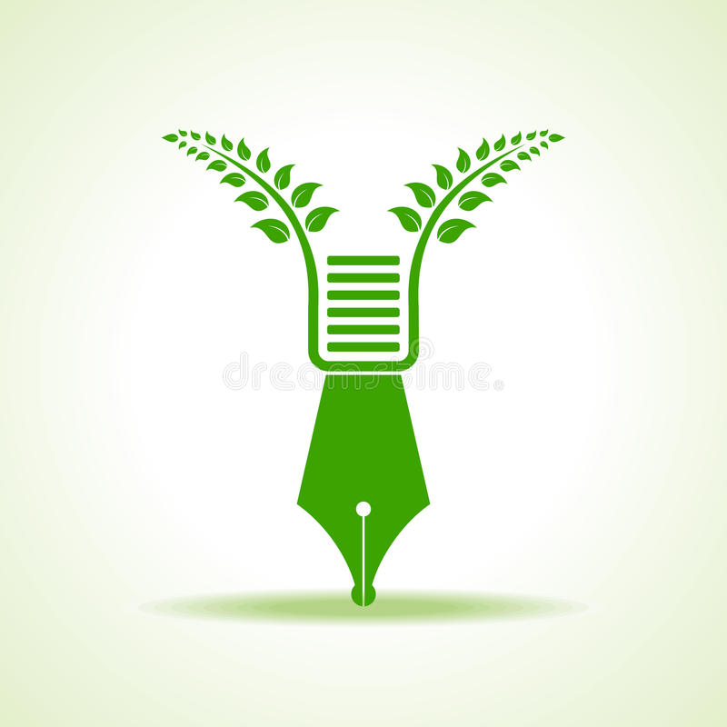 Eco pen with green leaf. Stock vector royalty free illustration