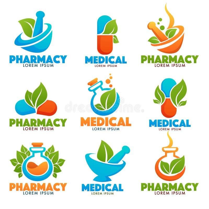 Eco Pharma butelki, wizerunki butelki, pounder, pigułki i zieleń liście, ilustracja wektor