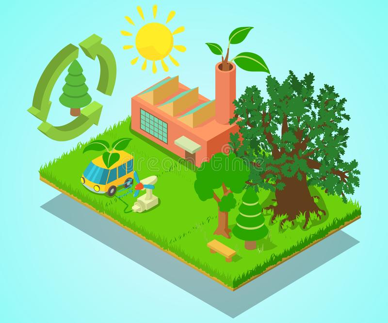 Eco place concept banner, isometric style royalty free illustration