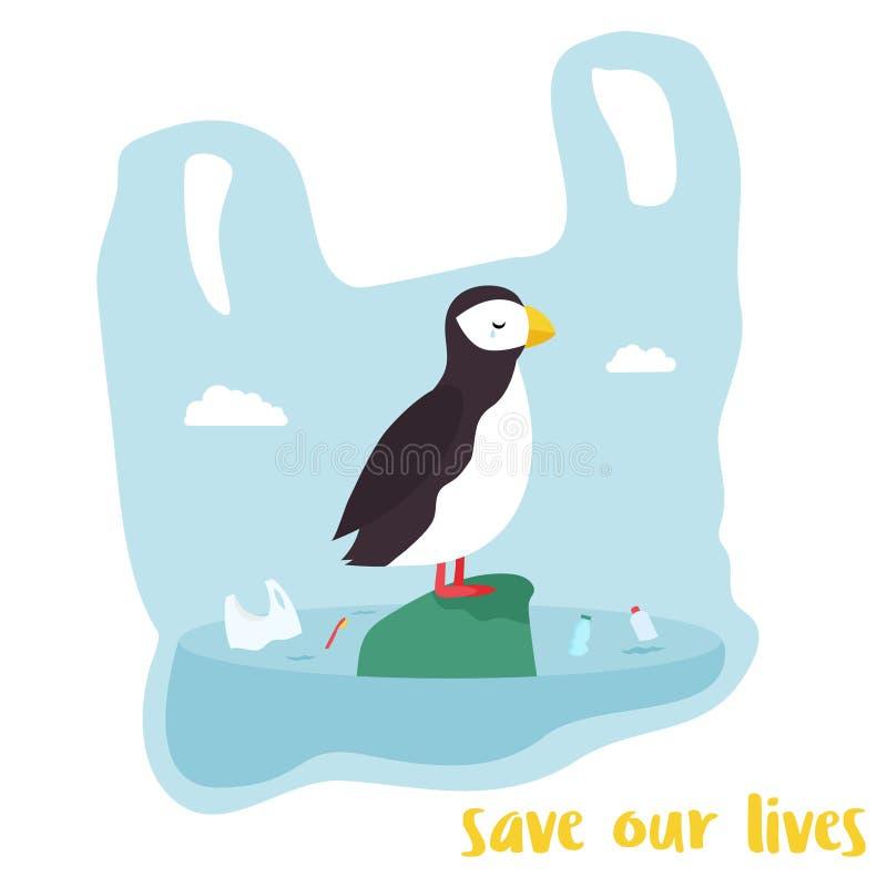 Eco plakat Śliczny maskonur wśrodku plastikowego worka ilustracja wektor