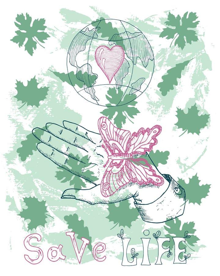 Eco-Plakat mit dem Schmetterling, der an Hand sitzen und Kugel stock abbildung