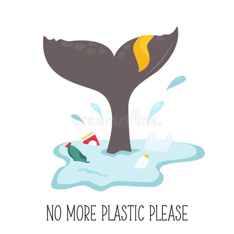 Eco plakat Wielorybia bajka i śmieci w oceanie ilustracji
