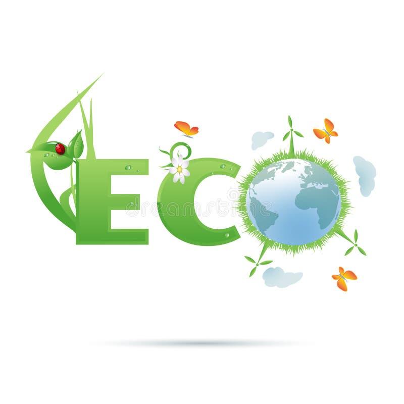 Eco-planeet tekstsymbool stock illustratie