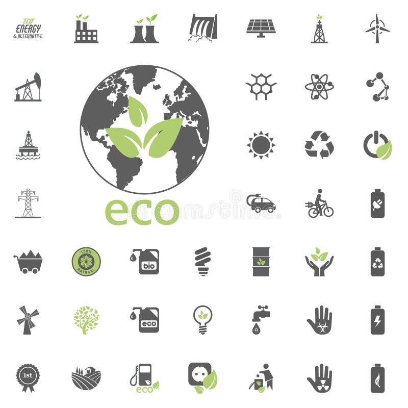 Eco-Planetenikone Eco und alternativer Energieträgerikonensatz Gesetzter Vektor der Energiequellstrom-Energienressource vektor abbildung