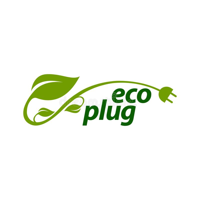 eco plug stem leaves with electric plug icon logo concept design template vector illustration