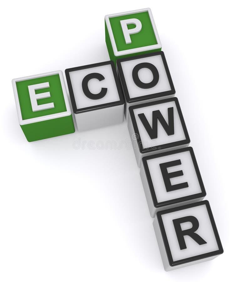 Eco power heading. Eco power crossword heading on white background royalty free illustration