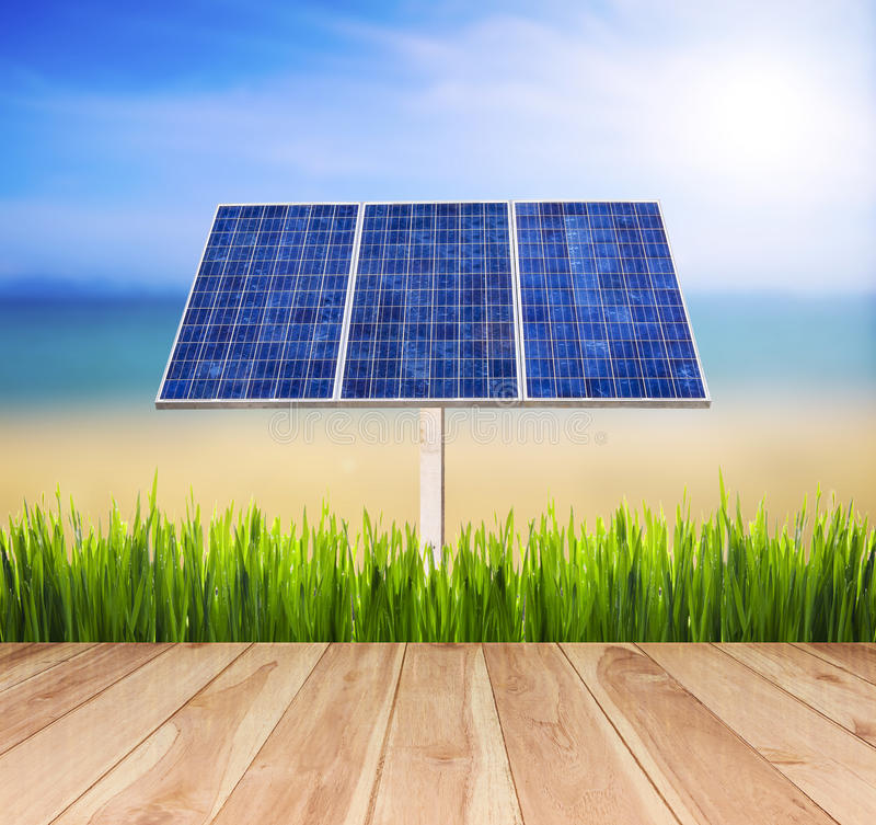Eco power,Power plant using renewable solar cell energy royalty free stock photography