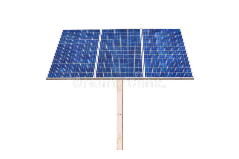 Eco power,Power plant using renewable solar cell on white background. With clipping path stock photography