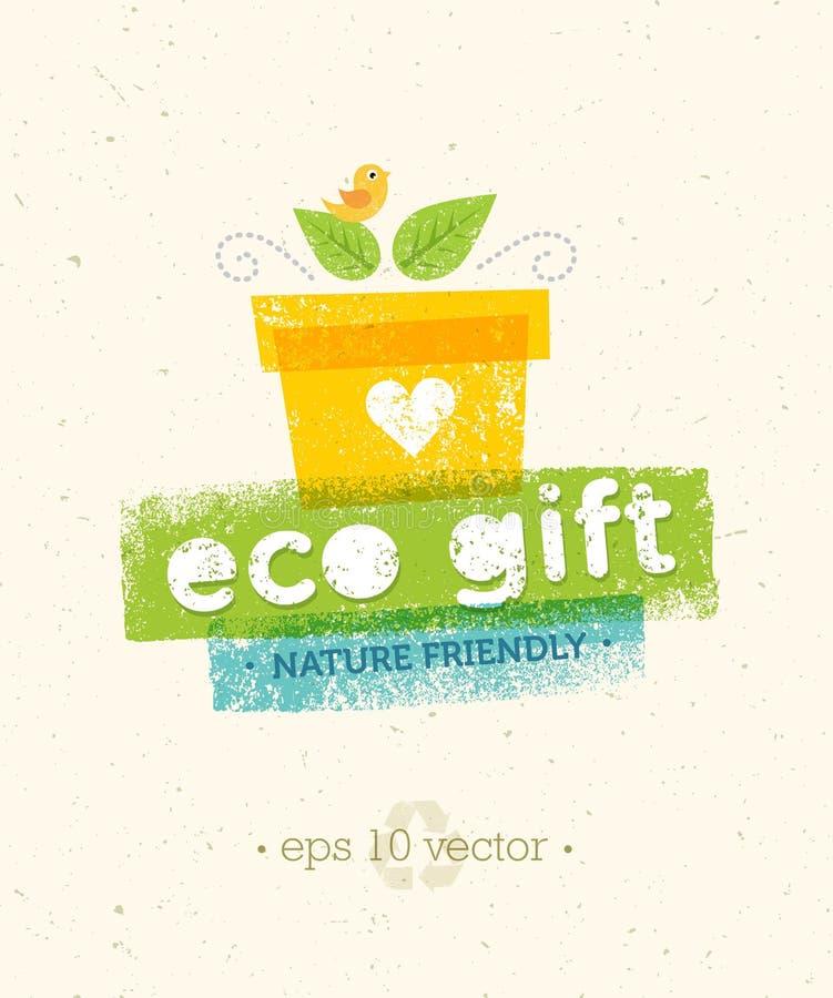 Eco prezenta natury Życzliwy Wektorowy pojęcie na Przetwarzającym Papierowym tle ilustracja wektor