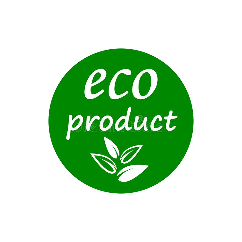 Eco product button icon, green leaf of a tree – vector stock illustration