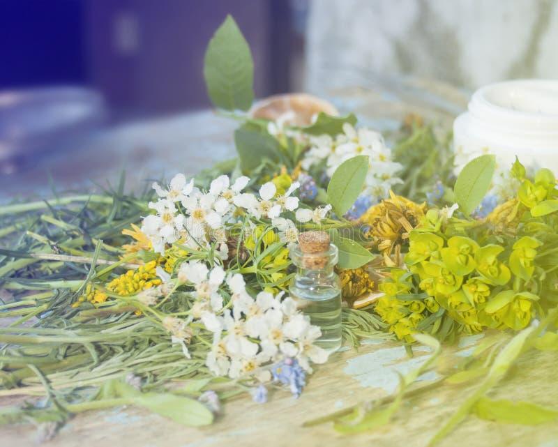 Eco produkter Blommor och växter, organiska aromatiska oljor selec arkivbilder