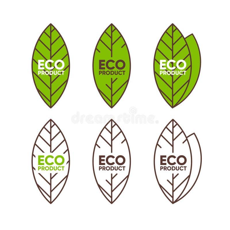 Eco produktu odznaki płaska kolekcja, liścia kształt Życiorys eco symbol Slogan dla pakunku, etykietka, pokrywa, broszurka, torba royalty ilustracja