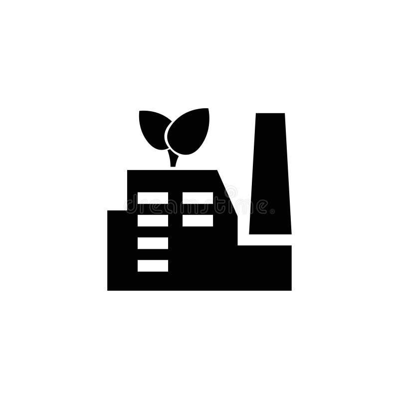ECO Przemysłowa fabryka, Zielona Energetyczna Płaska Wektorowa ikona royalty ilustracja