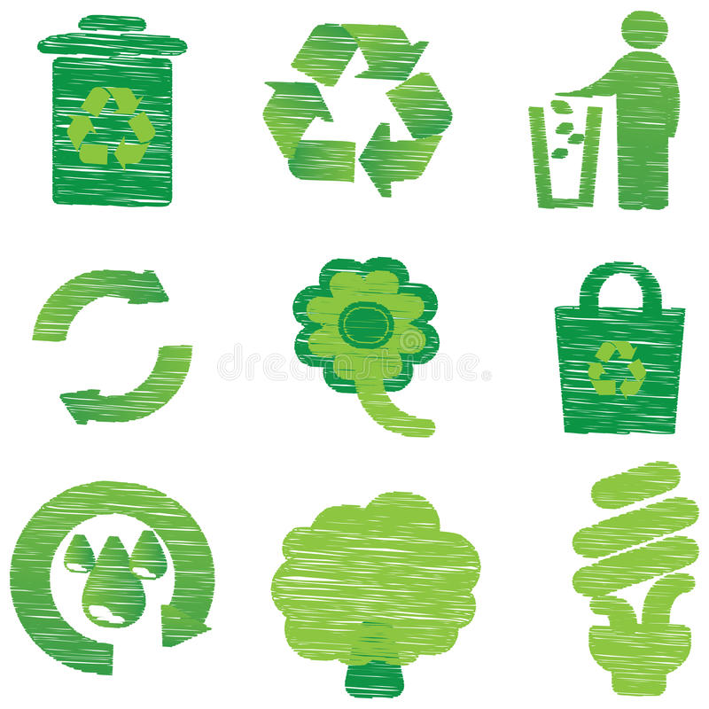 Eco & Przetwarzałyśmy ikony royalty ilustracja