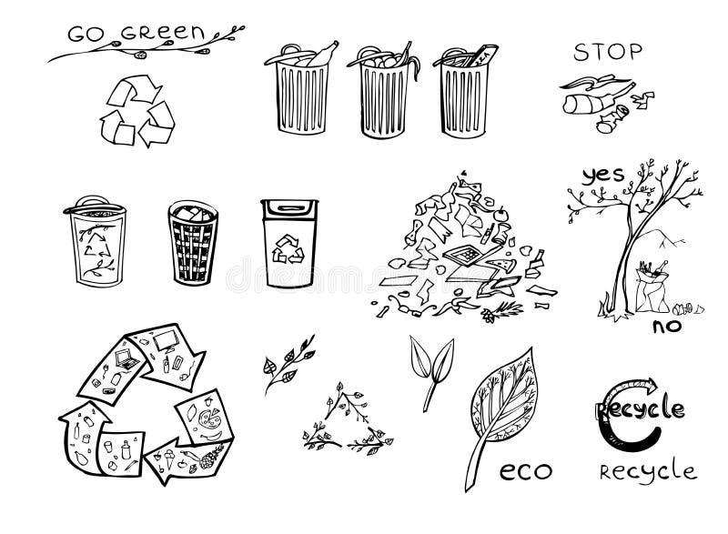 Eco przetwarza set ilustracja wektor