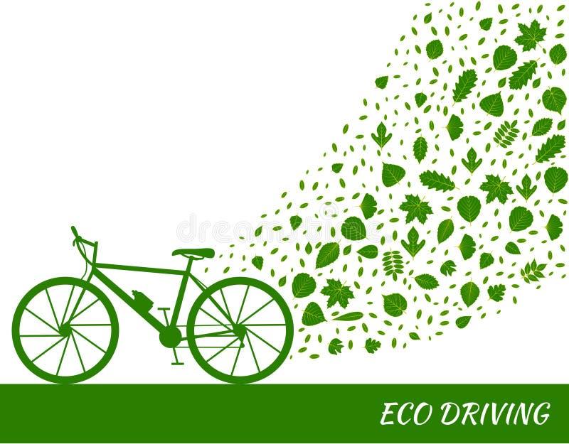 Eco que conduz o conceito em cores verdes Bicicleta e fuga das folhas da árvore ilustração stock