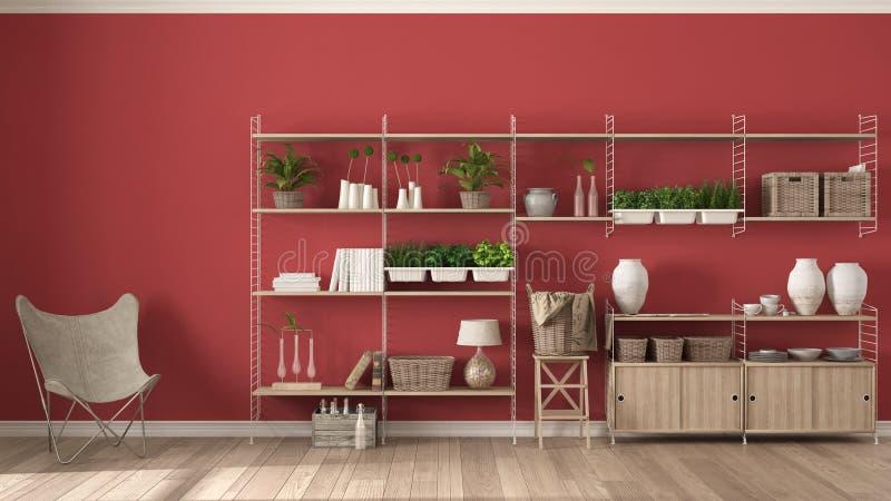 Eco röd inredesign med träbokhyllan, diy vertikala gard arkivbild