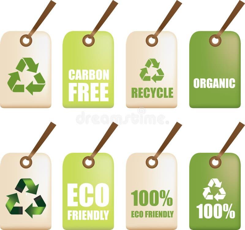 Eco recicl etiquetas ilustração stock