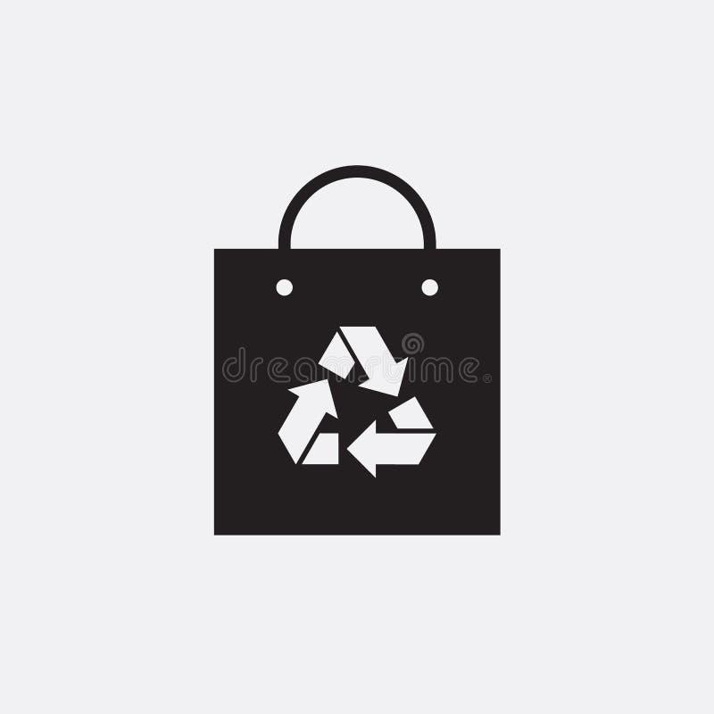 Eco recycle bag icon, carrybag basket. Vector. Arrow ecofreindly triangle. vector illustration