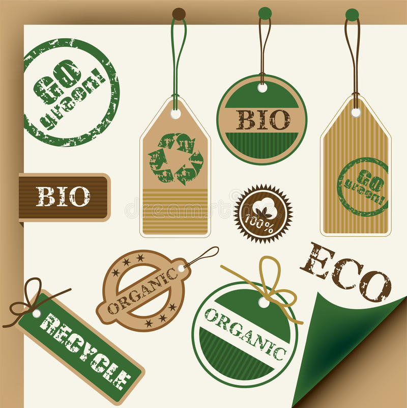 Eco, recycle, bio tags and stamps vector illustration