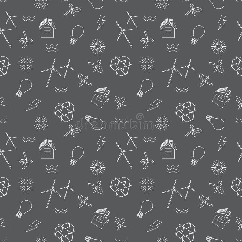 Eco relacionó la impresión inconsútil Contiene los símbolos para diversos tipos de producción eléctrica: generadores de viento, l stock de ilustración