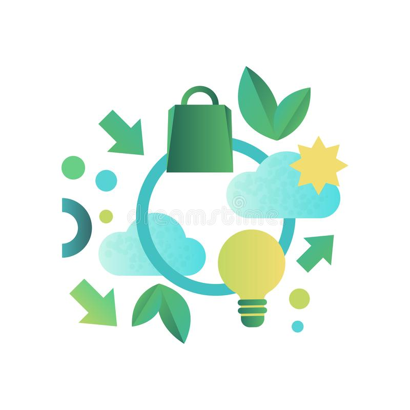Eco related symbols, ecology signs, green energy and environment protection vector Illustration on a white background vector illustration