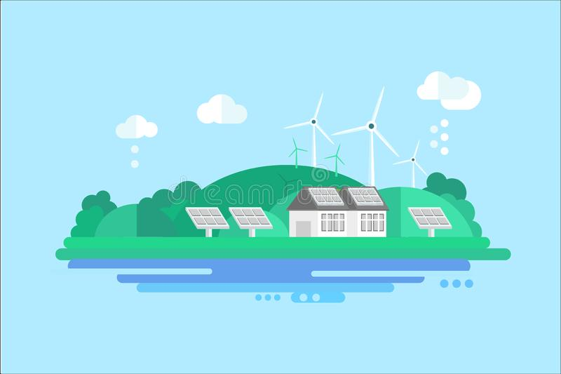 Eco residential house with solar panels and wind turbines, renewable energy concept vector illustration vector illustration