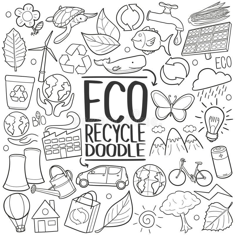 Eco ricicla l'insieme di tiraggio della mano dell'icona di scarabocchio di ReuseTraditional illustrazione di stock