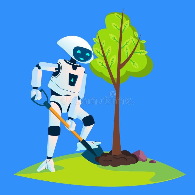 Eco-Roboter pflanzt einen grünen Baum-Vektor Getrennte Abbildung lizenzfreie abbildung