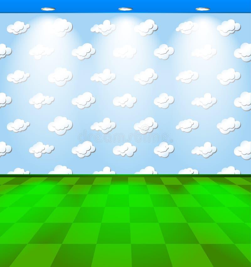 Eco rum med moln vektor illustrationer