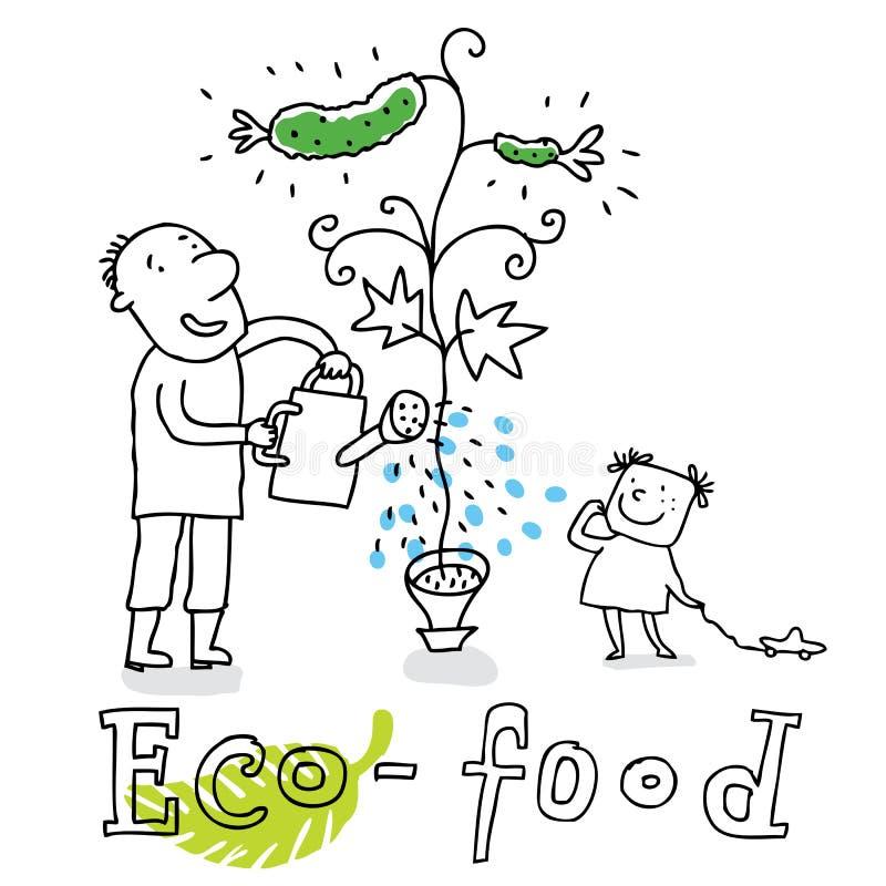 eco rysunkowy jedzenie royalty ilustracja