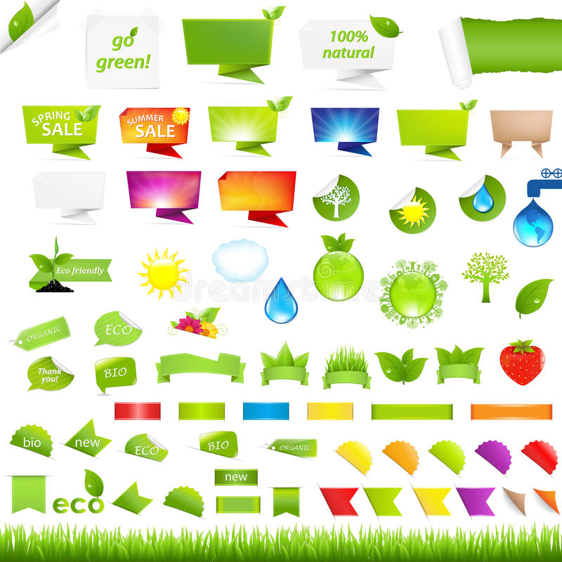 Eco-Sammlungs-Gestaltungselemente stock abbildung