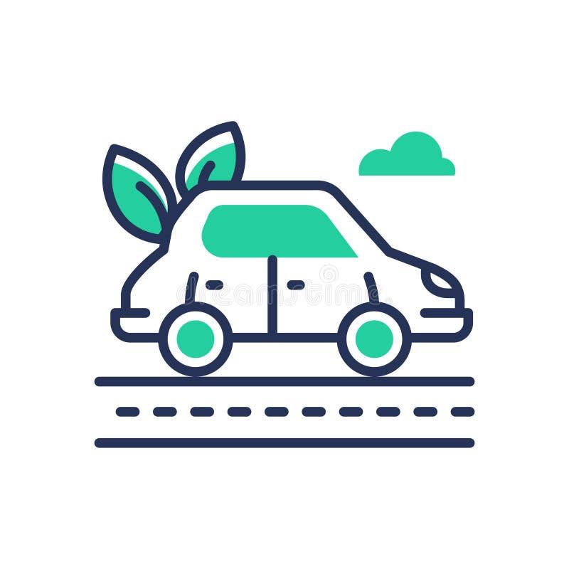 Eco samochód - nowożytna wektorowa pojedynczej linii ikona royalty ilustracja