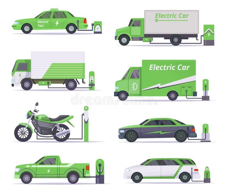 Eco samochody Oprócz pogodowej elektryczność pojazdów wektoru zieleni kolekcji ilustracji