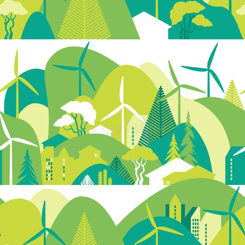 Cityscape seamless pattern in green hills. Preservation of the environment, ecology, alternative energy sources. Vector illustration stock illustration