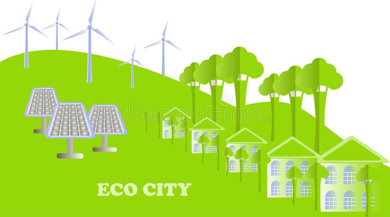 Eco serie Eco stadsbakgrund Vita byggnader, grönt träd, kullar, väderkvarnar, solpaneler på vit, vektor royaltyfri illustrationer
