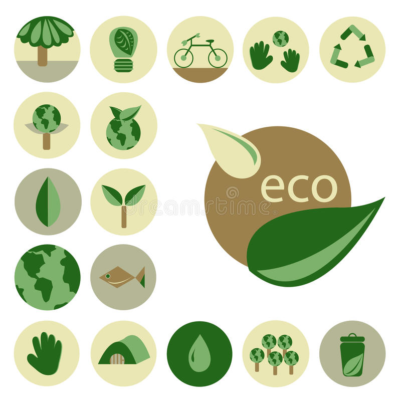 Eco set. Flat design for eco set stock illustration