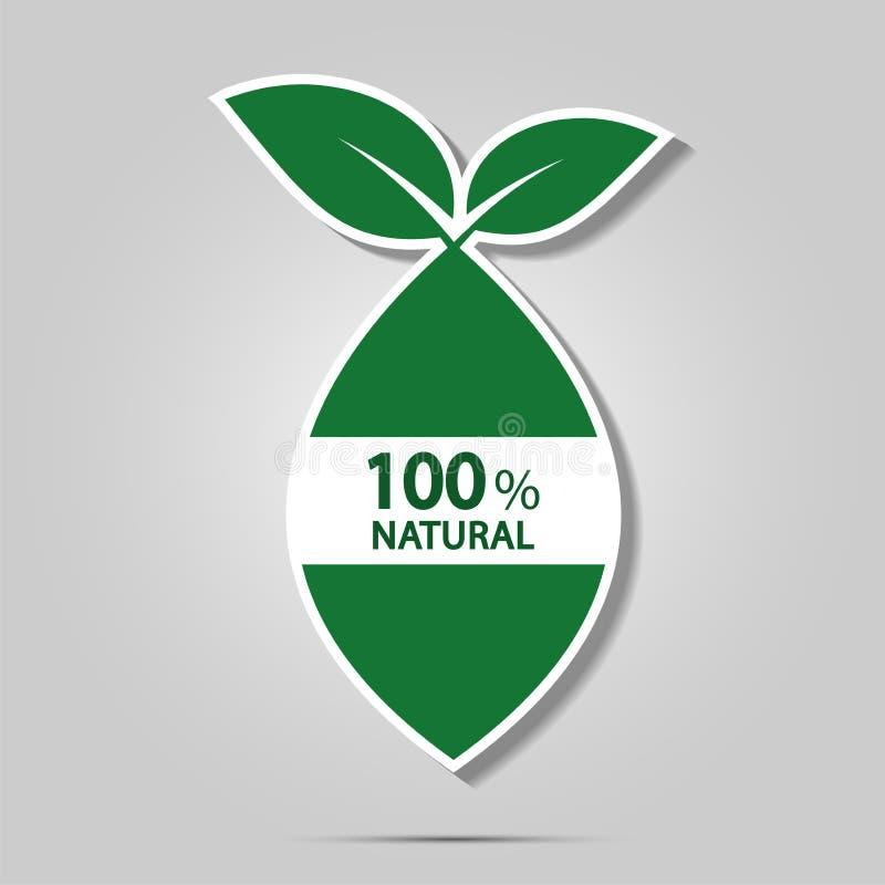 Eco si inverdisce il concetto di energia, un'etichetta naturale di 100 per cento Illustrazione di vettore illustrazione di stock