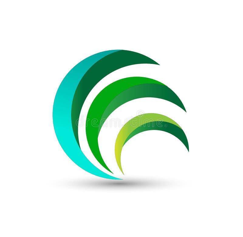 Eco si inverdisce il logo, vettore di progettazione di simbolo della pianta della natura dell'erba delle foglie del cerchio illustrazione vettoriale