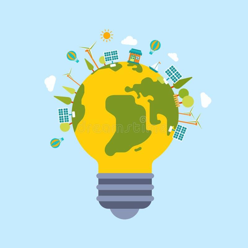 Eco si inverdisce il modello piano moderno di stile del globo del mondo del pianeta di energia royalty illustrazione gratis