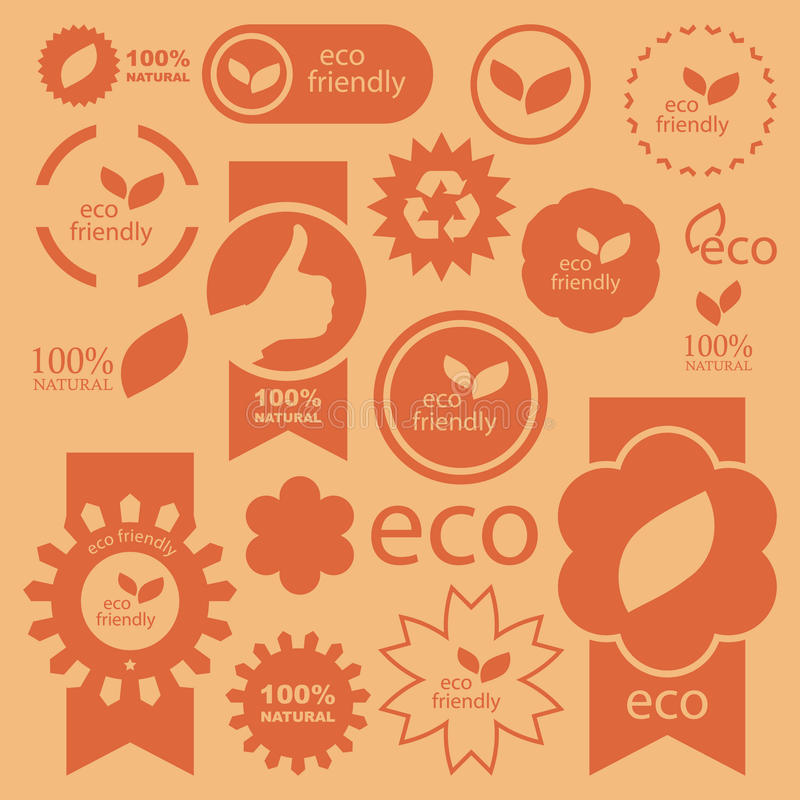 Eco signs. Set of eco friendly, natural and organic signs vector illustration