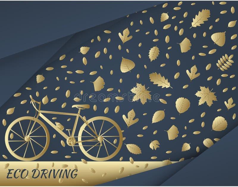 Eco som kör begrepp i guld- färger Cykel och slinga av trädsidor royaltyfri illustrationer