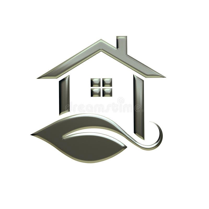 Eco srebra domu logo śliwek 3 d łatwej edycji ilustrację do akt ścieżka świadczenia royalty ilustracja