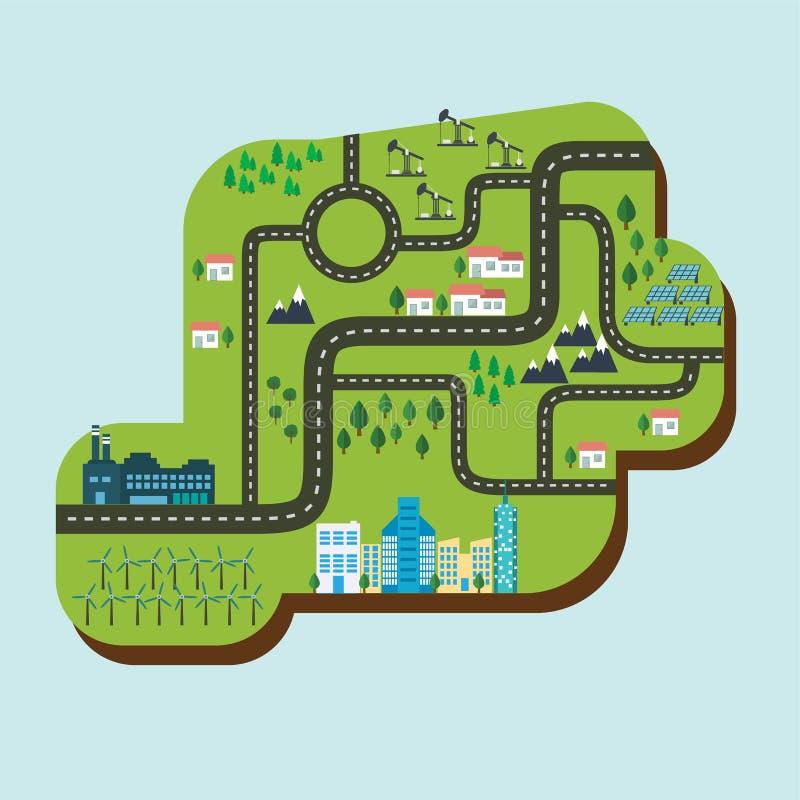 Eco-stad grön energi, löst naturbegrepp panels sol- stock illustrationer