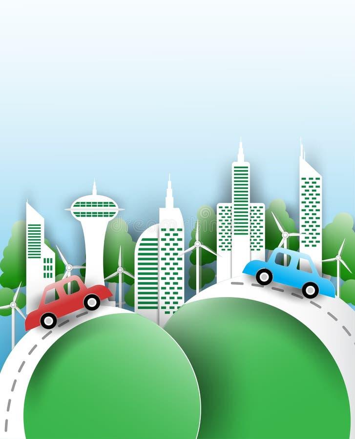Eco stadsbegrepp, grön stad i form av pappersklipp stock illustrationer
