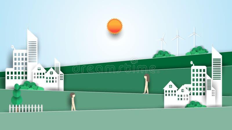 Eco-Stadtkonzept, Landschaftspapier-Kunstentwurf lizenzfreie abbildung