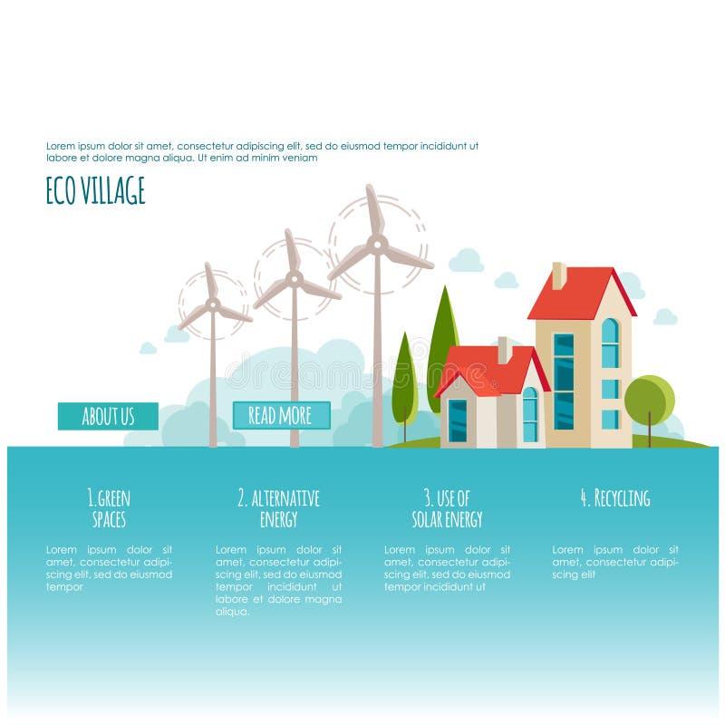 Eco-Stadtlandschaft Alternative Energie Abbildung 3D, getrennt Webseitenkonzept lizenzfreie abbildung